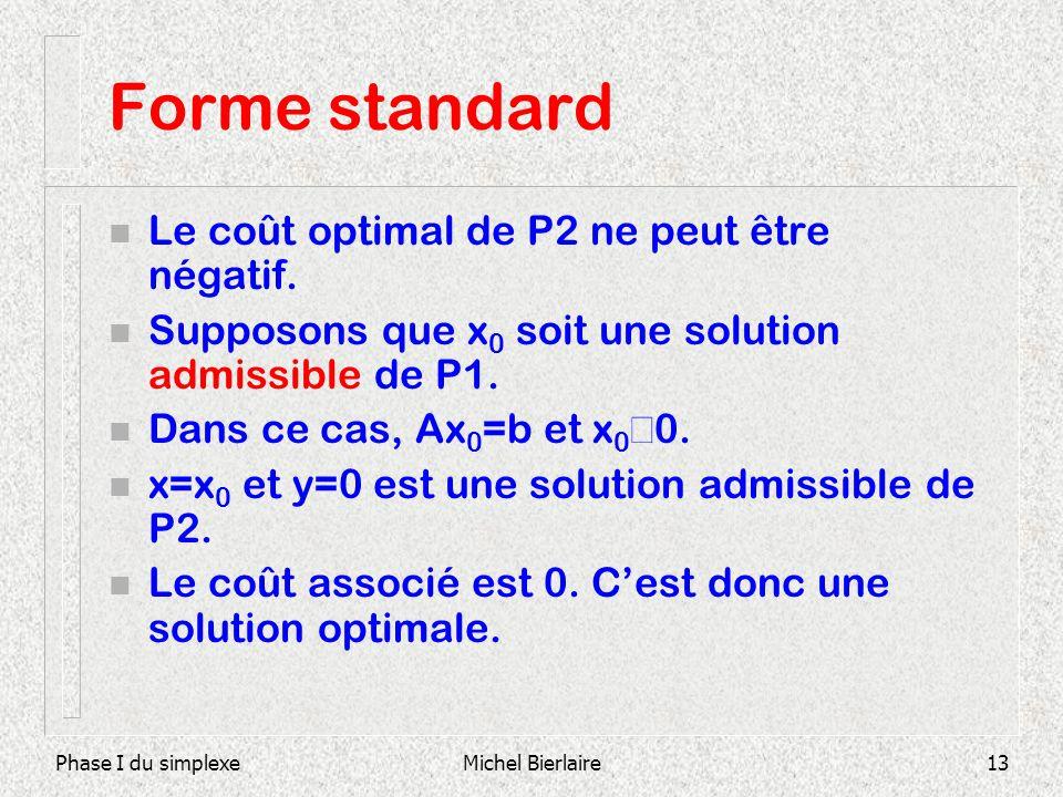Phase I du simplexeMichel Bierlaire13 Forme standard n Le coût optimal de P2 ne peut être négatif. n Supposons que x 0 soit une solution admissible de