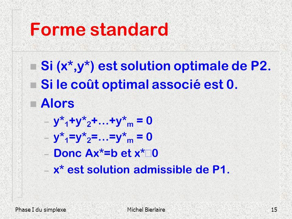 Phase I du simplexeMichel Bierlaire15 Forme standard n Si (x*,y*) est solution optimale de P2. n Si le coût optimal associé est 0. n Alors – y* 1 +y*