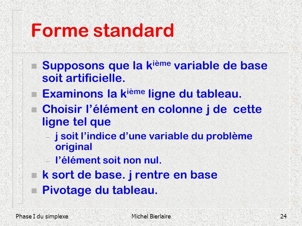 Phase I du simplexeMichel Bierlaire24 Forme standard n Supposons que la k ième variable de base soit artificielle. n Examinons la k ième ligne du tabl