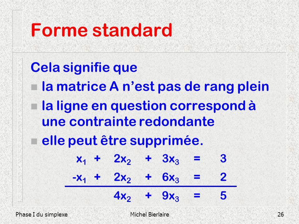 Phase I du simplexeMichel Bierlaire26 Forme standard Cela signifie que n la matrice A nest pas de rang plein n la ligne en question correspond à une c