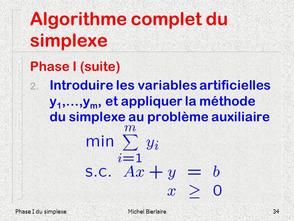 Phase I du simplexeMichel Bierlaire34 Algorithme complet du simplexe Phase I (suite) 2. Introduire les variables artificielles y 1,…,y m, et appliquer