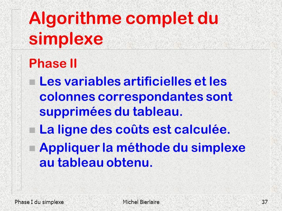 Phase I du simplexeMichel Bierlaire37 Algorithme complet du simplexe Phase II n Les variables artificielles et les colonnes correspondantes sont suppr