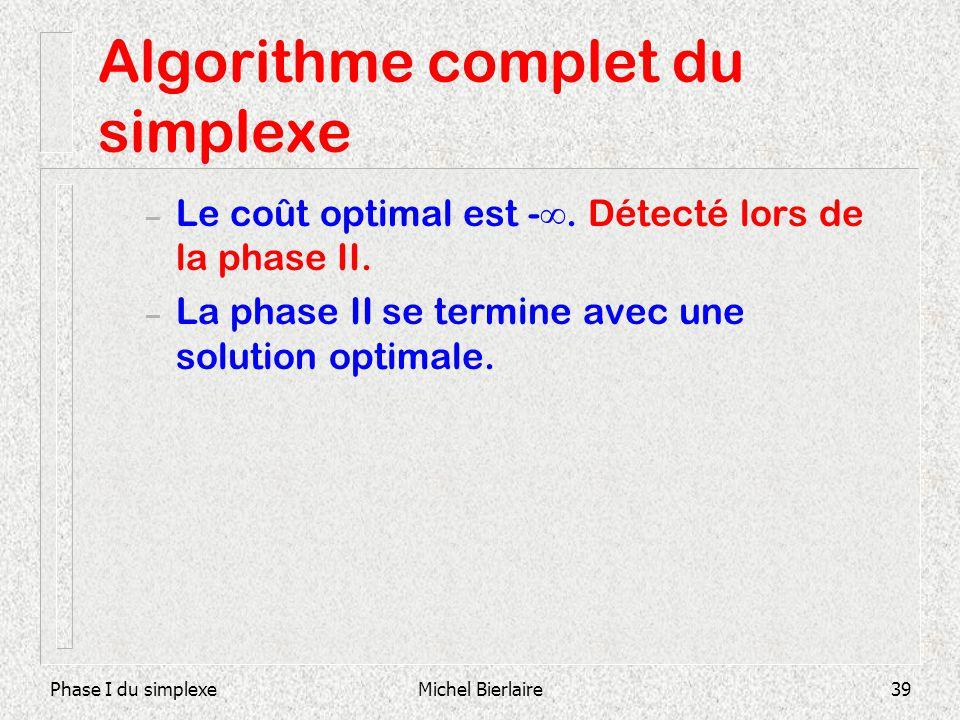 Phase I du simplexeMichel Bierlaire39 Algorithme complet du simplexe – Le coût optimal est -. Détecté lors de la phase II. – La phase II se termine av