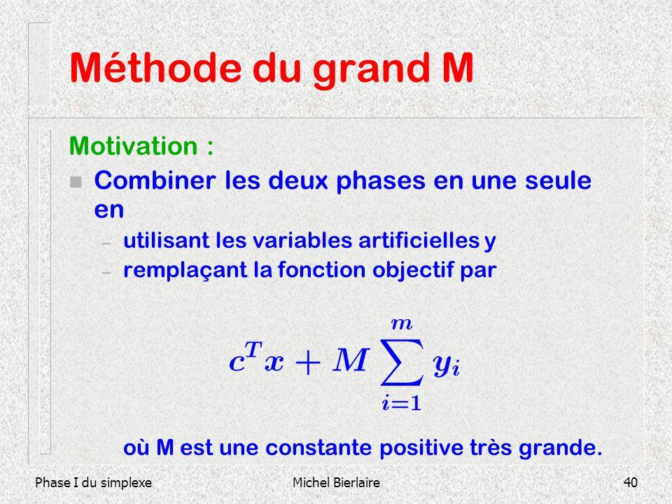 Phase I du simplexeMichel Bierlaire40 Méthode du grand M Motivation : n Combiner les deux phases en une seule en – utilisant les variables artificiell