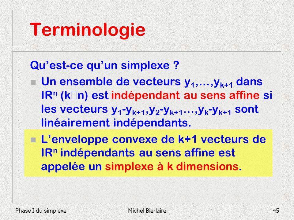 Phase I du simplexeMichel Bierlaire45 Terminologie Quest-ce quun simplexe ? Un ensemble de vecteurs y 1,…,y k+1 dans IR n (k n) est indépendant au sen