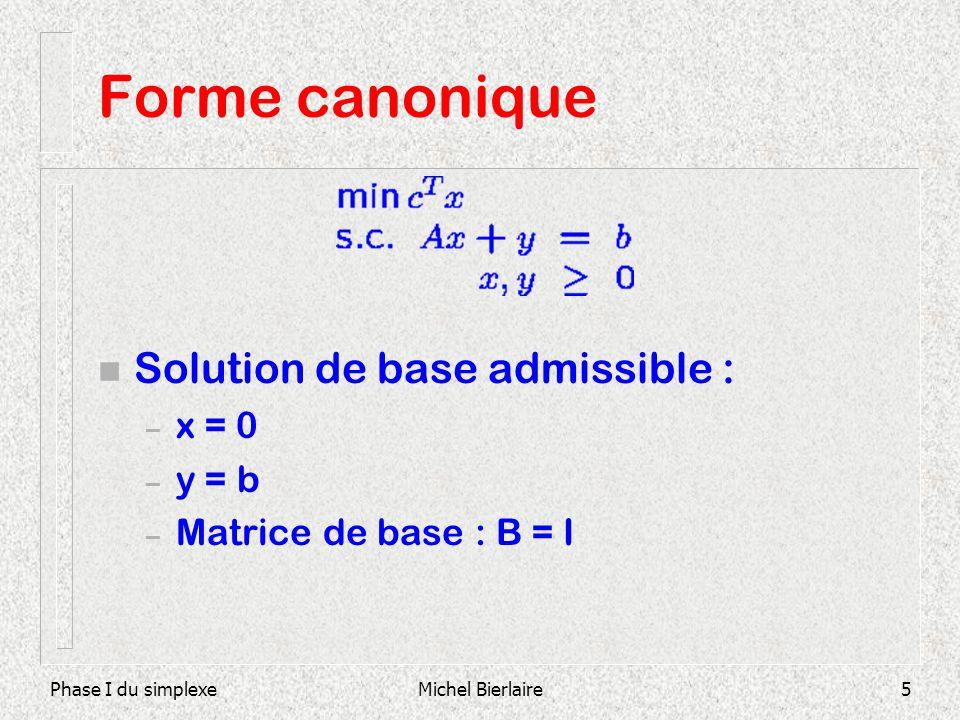 Phase I du simplexeMichel Bierlaire5 Forme canonique n Solution de base admissible : – x = 0 – y = b – Matrice de base : B = I