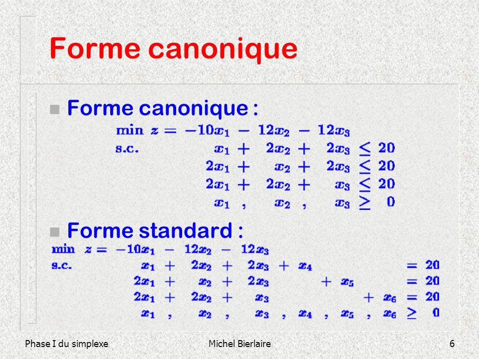 Phase I du simplexeMichel Bierlaire6 Forme canonique n Forme canonique : n Forme standard :