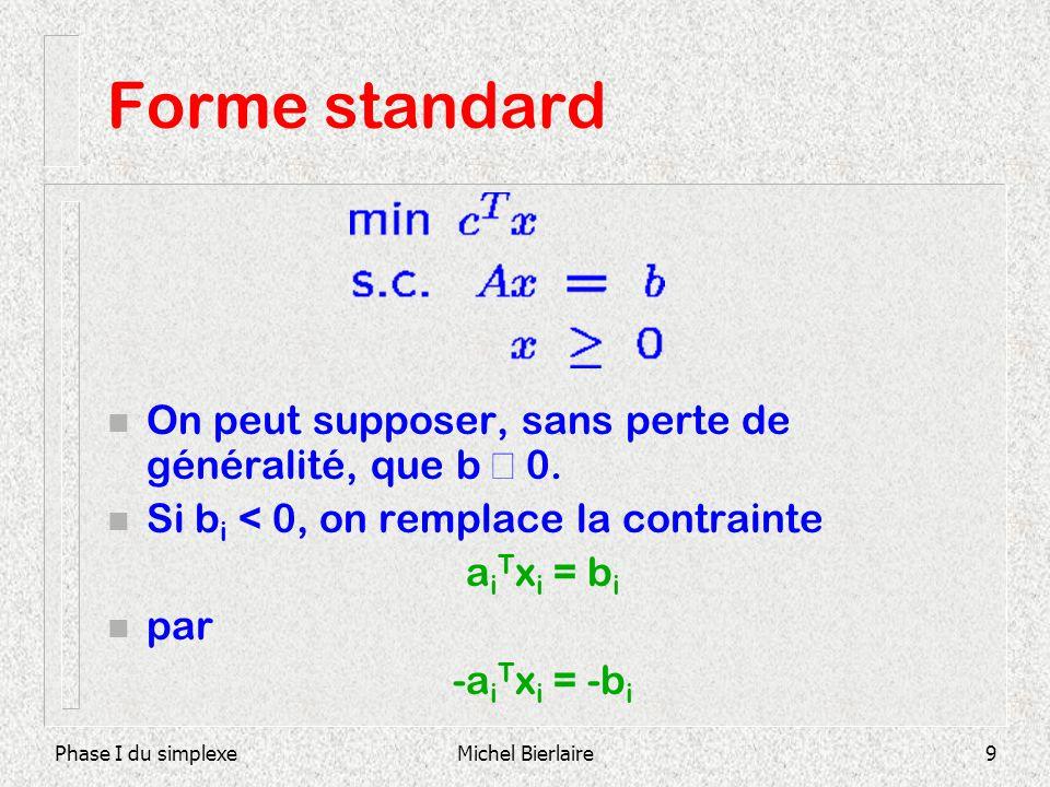 Phase I du simplexeMichel Bierlaire9 Forme standard On peut supposer, sans perte de généralité, que b 0. n Si b i < 0, on remplace la contrainte a i T
