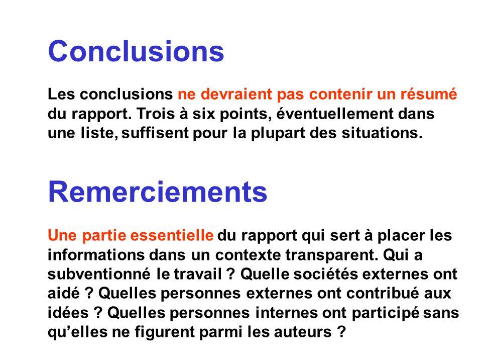 Conclusions Les conclusions ne devraient pas contenir un résumé du rapport. Trois à six points, éventuellement dans une liste, suffisent pour la plupa