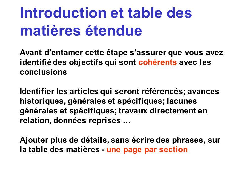 Introduction et table des matières étendue Avant dentamer cette étape sassurer que vous avez identifié des objectifs qui sont cohérents avec les concl