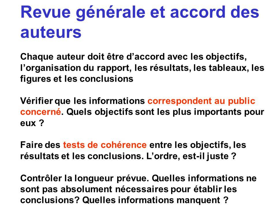 Revue générale et accord des auteurs Chaque auteur doit être daccord avec les objectifs, lorganisation du rapport, les résultats, les tableaux, les fi