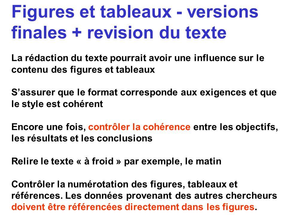 Figures et tableaux - versions finales + revision du texte La rédaction du texte pourrait avoir une influence sur le contenu des figures et tableaux S