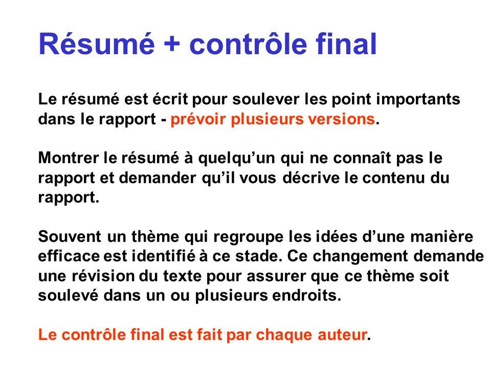 Résumé + contrôle final Le résumé est écrit pour soulever les point importants dans le rapport - prévoir plusieurs versions. Montrer le résumé à quelq