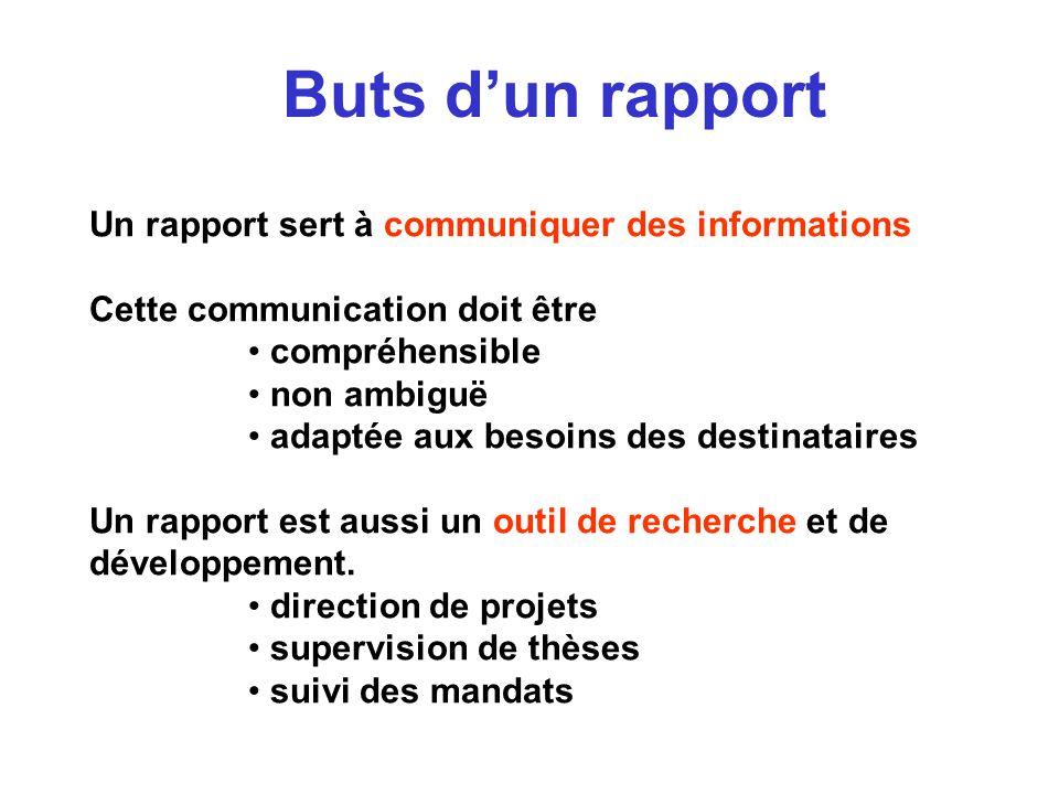 Buts dun rapport Un rapport sert à communiquer des informations Cette communication doit être compréhensible non ambiguë adaptée aux besoins des desti
