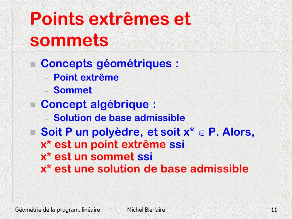 Géométrie de la program. linéaireMichel Bierlaire11 Points extrêmes et sommets n Concepts géométriques : – Point extrême – Sommet n Concept algébrique