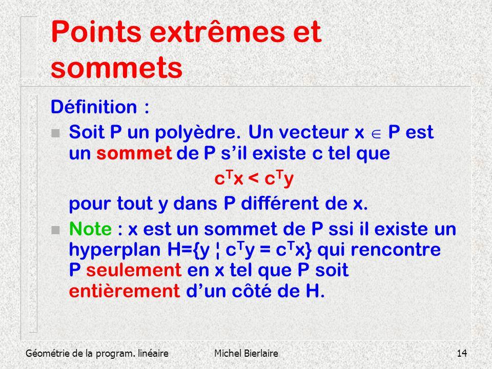 Géométrie de la program. linéaireMichel Bierlaire14 Points extrêmes et sommets Définition : n Soit P un polyèdre. Un vecteur x P est un sommet de P si