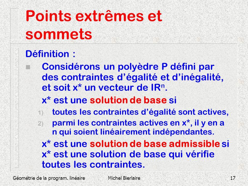 Géométrie de la program. linéaireMichel Bierlaire17 Points extrêmes et sommets Définition : n Considérons un polyèdre P défini par des contraintes dég