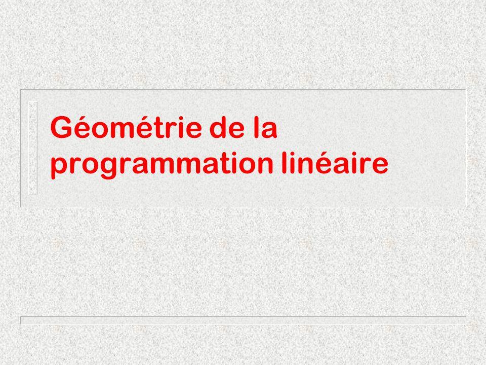 Géométrie de la programmation linéaire