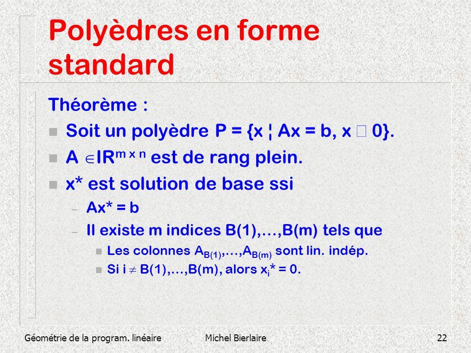 Géométrie de la program. linéaireMichel Bierlaire22 Polyèdres en forme standard Théorème : Soit un polyèdre P = {x ¦ Ax = b, x 0}. n A IR m x n est de