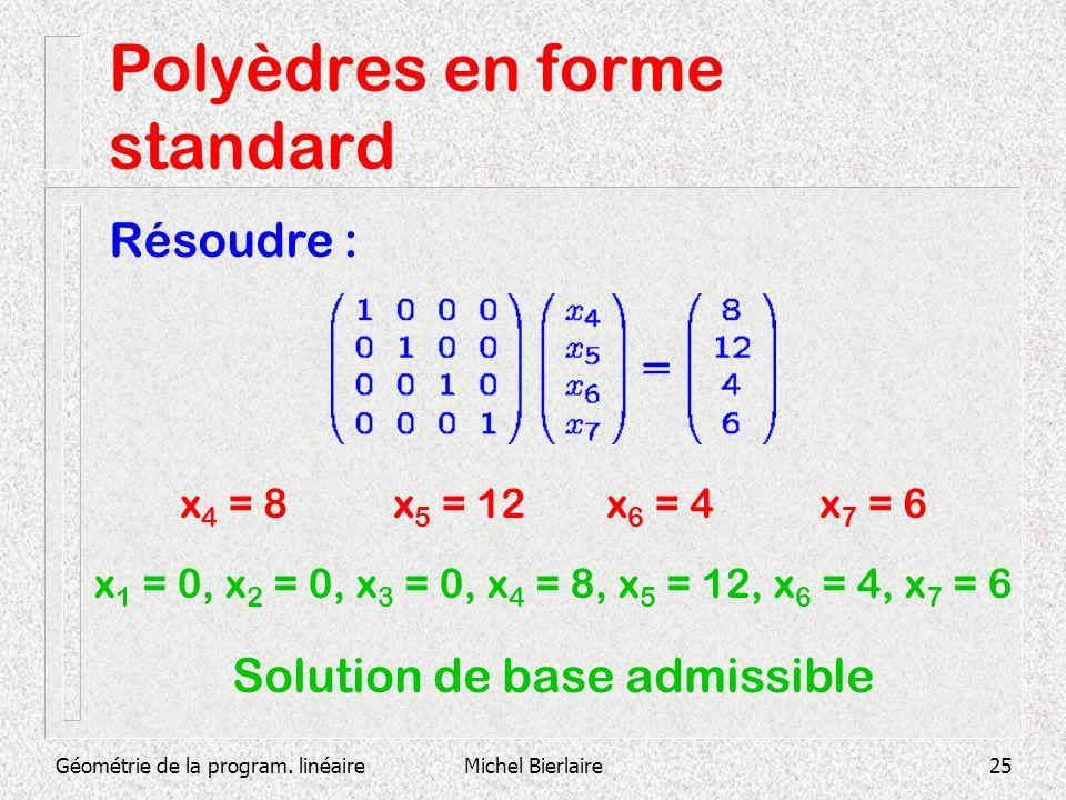 Géométrie de la program. linéaireMichel Bierlaire25 Polyèdres en forme standard Résoudre : x 4 = 8x 5 = 12x 6 = 4x 7 = 6 x 1 = 0, x 2 = 0, x 3 = 0, x