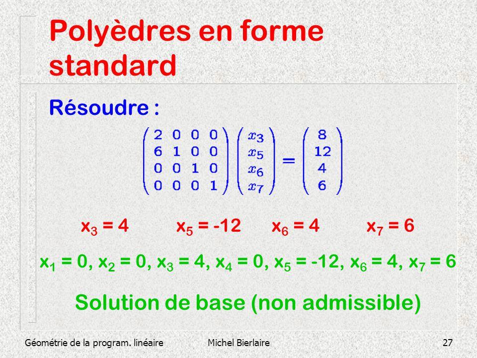 Géométrie de la program. linéaireMichel Bierlaire27 Polyèdres en forme standard Résoudre : x 3 = 4x 5 = -12x 6 = 4x 7 = 6 x 1 = 0, x 2 = 0, x 3 = 4, x