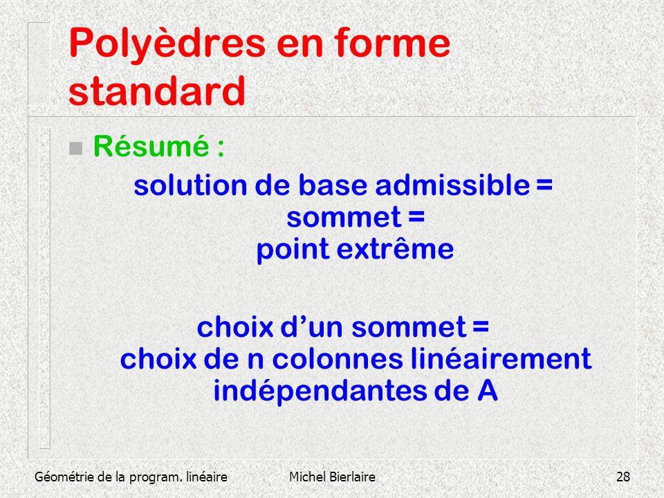 Géométrie de la program. linéaireMichel Bierlaire28 Polyèdres en forme standard n Résumé : solution de base admissible = sommet = point extrême choix