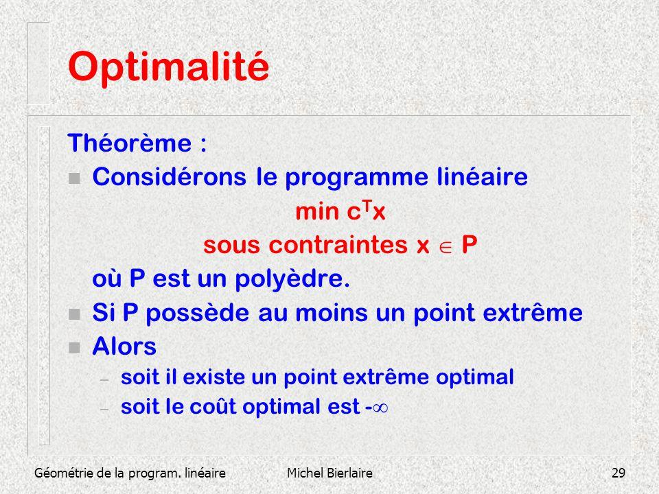 Géométrie de la program. linéaireMichel Bierlaire29 Optimalité Théorème : n Considérons le programme linéaire min c T x sous contraintes x P où P est