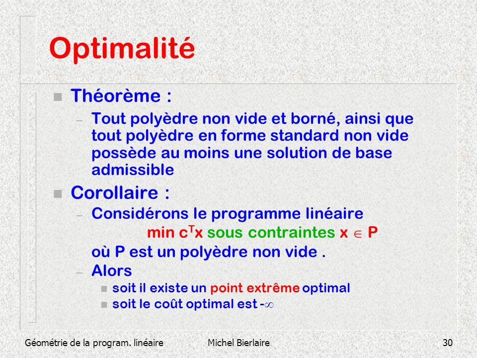 Géométrie de la program. linéaireMichel Bierlaire30 Optimalité n Théorème : – Tout polyèdre non vide et borné, ainsi que tout polyèdre en forme standa