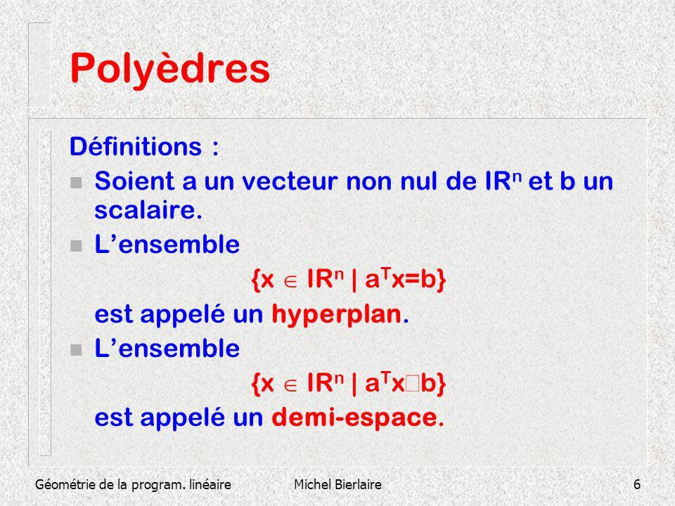 Géométrie de la program. linéaireMichel Bierlaire6 Polyèdres Définitions : n Soient a un vecteur non nul de IR n et b un scalaire. n Lensemble {x IR n