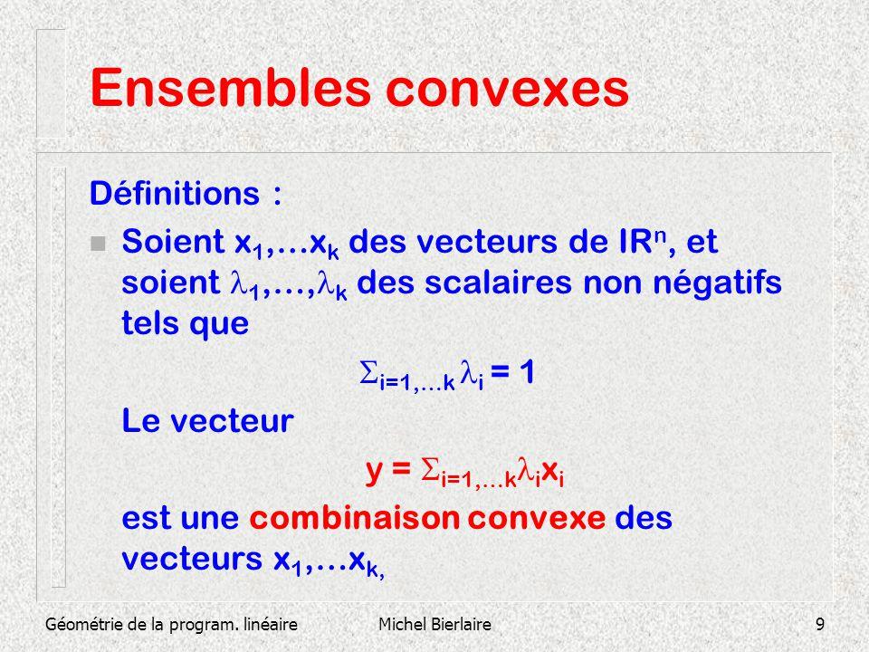 Géométrie de la program. linéaireMichel Bierlaire9 Ensembles convexes Définitions : Soient x 1,…x k des vecteurs de IR n, et soient 1,…, k des scalair