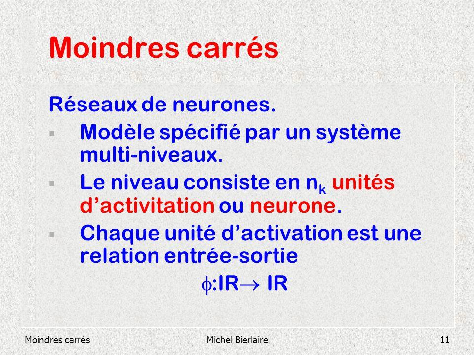Moindres carrésMichel Bierlaire11 Moindres carrés Réseaux de neurones. Modèle spécifié par un système multi-niveaux. Le niveau consiste en n k unités