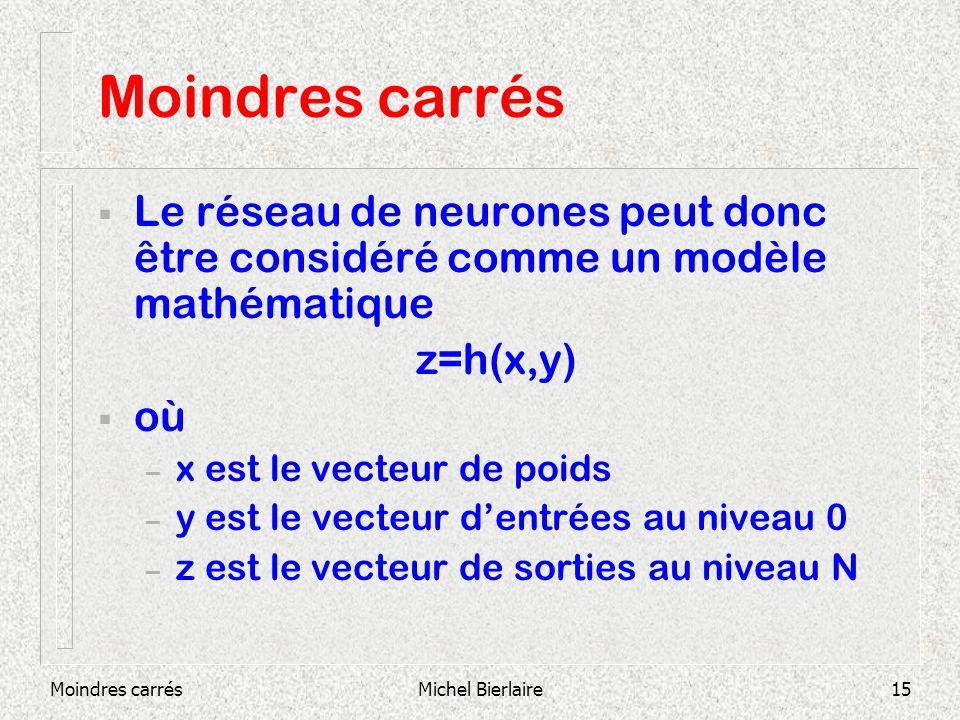 Moindres carrésMichel Bierlaire15 Moindres carrés Le réseau de neurones peut donc être considéré comme un modèle mathématique z=h(x,y) où – x est le vecteur de poids – y est le vecteur dentrées au niveau 0 – z est le vecteur de sorties au niveau N