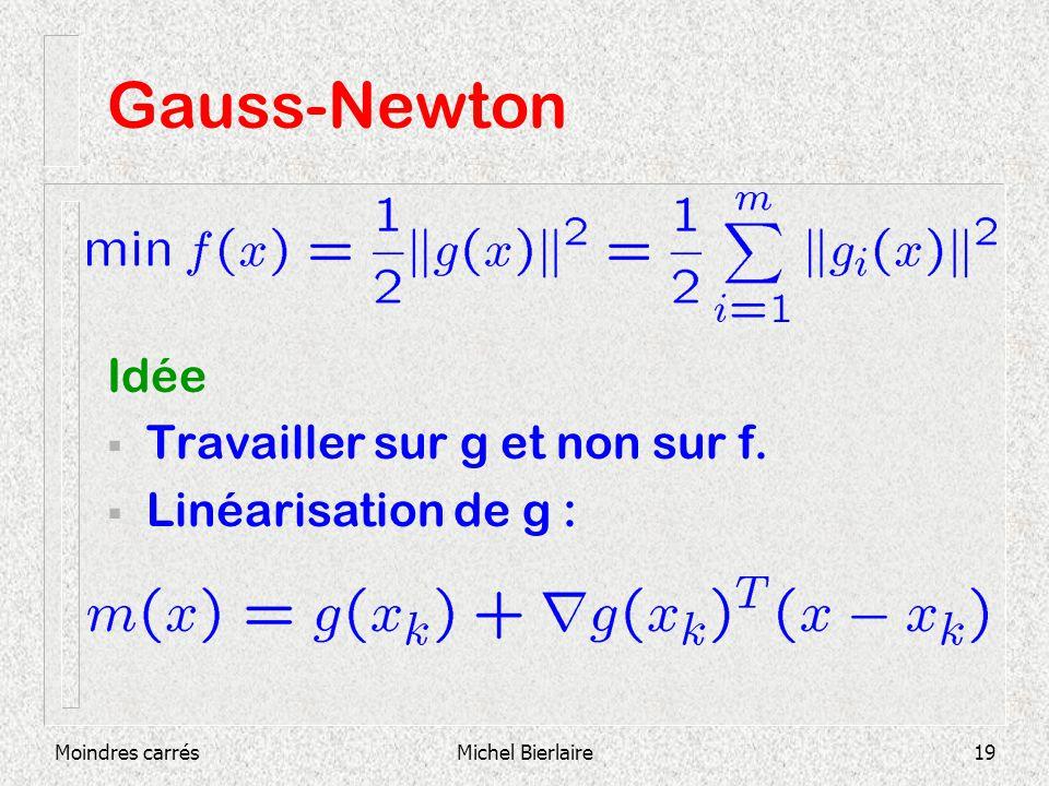 Moindres carrésMichel Bierlaire19 Gauss-Newton Idée Travailler sur g et non sur f. Linéarisation de g :