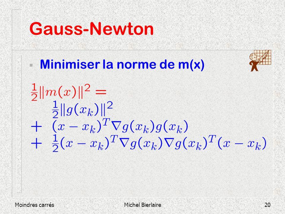 Moindres carrésMichel Bierlaire20 Gauss-Newton Minimiser la norme de m(x)