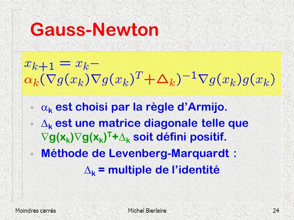 Moindres carrésMichel Bierlaire24 Gauss-Newton k est choisi par la règle dArmijo. k est une matrice diagonale telle que g(x k ) g(x k ) T + k soit déf