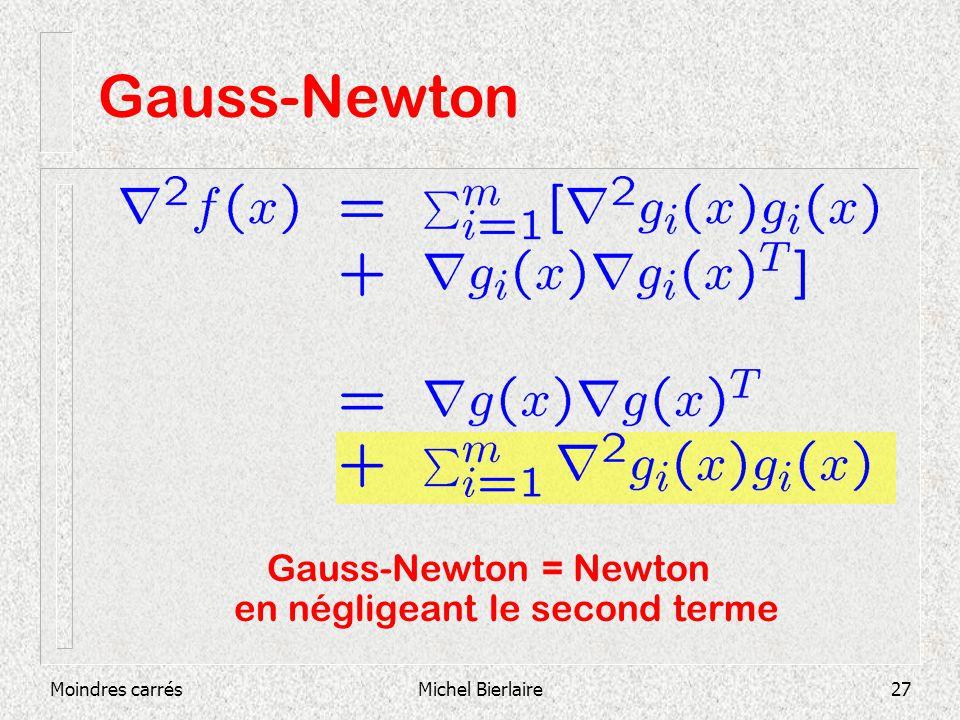 Moindres carrésMichel Bierlaire27 Gauss-Newton Gauss-Newton = Newton en négligeant le second terme