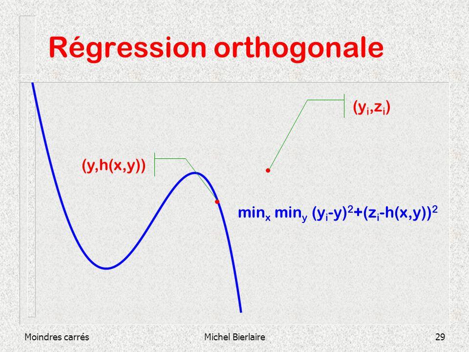 Moindres carrésMichel Bierlaire29 Régression orthogonale (y,h(x,y)) (y i,z i ) min x min y (y i -y) 2 +(z i -h(x,y)) 2