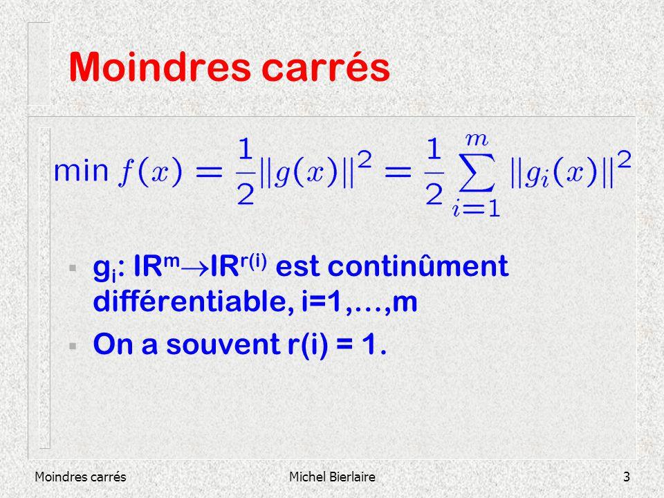 Moindres carrésMichel Bierlaire4 Moindres carrés Exemple : Estimation des paramètres dun modèle Soit un modèle mathématique z=h(x,y) x est le vecteur des paramètres inconnus.