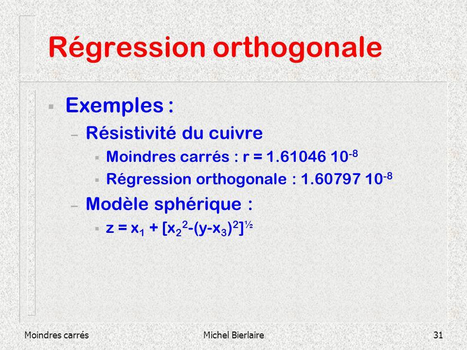 Moindres carrésMichel Bierlaire31 Régression orthogonale Exemples : – Résistivité du cuivre Moindres carrés : r = 1.61046 10 -8 Régression orthogonale