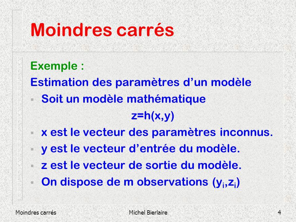 Moindres carrésMichel Bierlaire4 Moindres carrés Exemple : Estimation des paramètres dun modèle Soit un modèle mathématique z=h(x,y) x est le vecteur