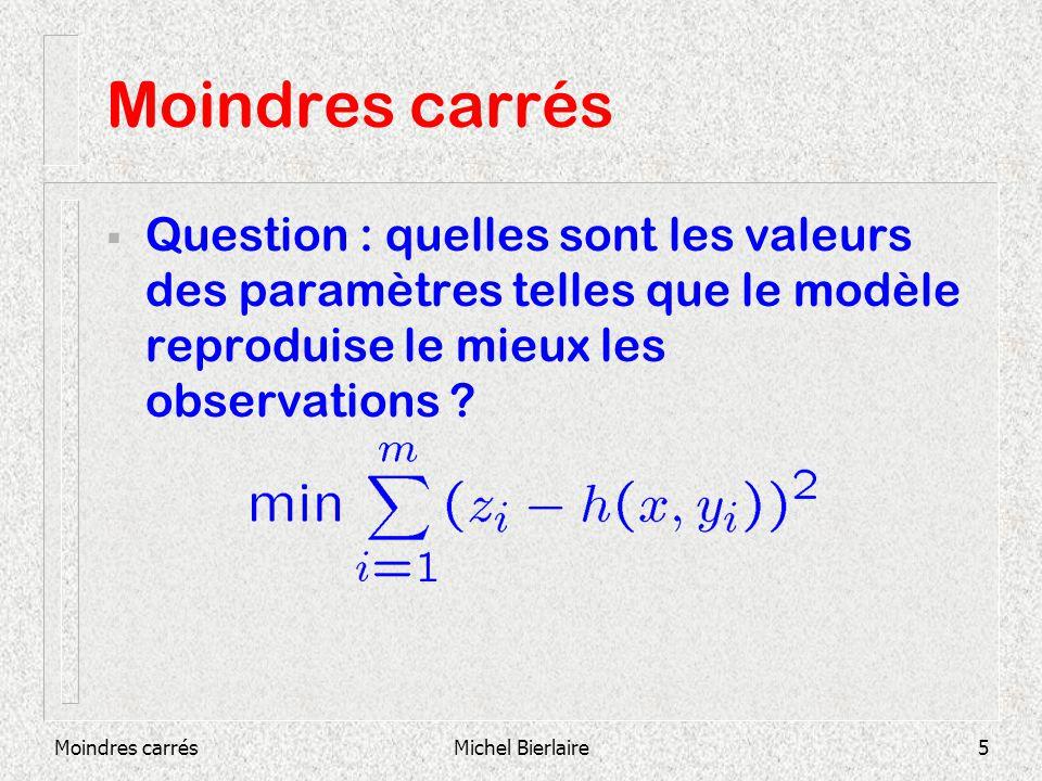 Moindres carrésMichel Bierlaire5 Moindres carrés Question : quelles sont les valeurs des paramètres telles que le modèle reproduise le mieux les obser