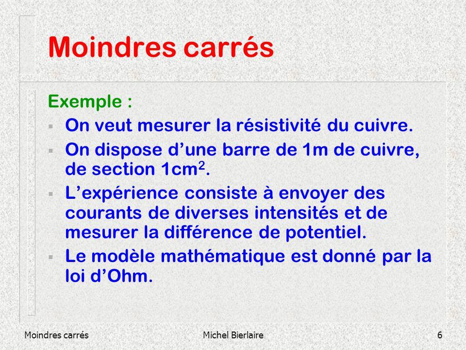 Moindres carrésMichel Bierlaire7 Moindres carrés Paramètre inconnu : résistance R Entrée du modèle : intensité I Sortie du modèle : diff.