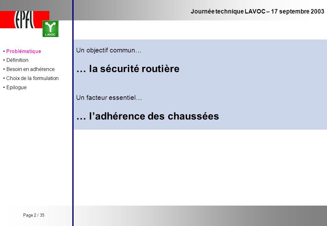 Journée technique LAVOC – 17 septembre 2003 Un objectif commun… … la sécurité routière … ladhérence des chaussées Un facteur essentiel… Problématique
