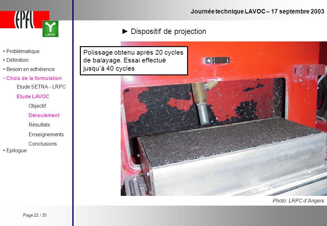 Journée technique LAVOC – 17 septembre 2003 Etude LAVOC Etude SETRA - LRPC Objectif Enseignements Conclusions Déroulement Résultats Photo: LRPC dAnger