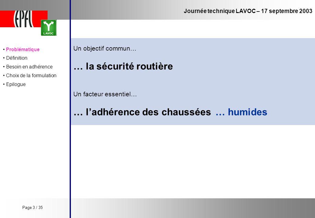 Journée technique LAVOC – 17 septembre 2003 Un objectif commun… … la sécurité routière … ladhérence des chaussées Un facteur essentiel… … humides Prob