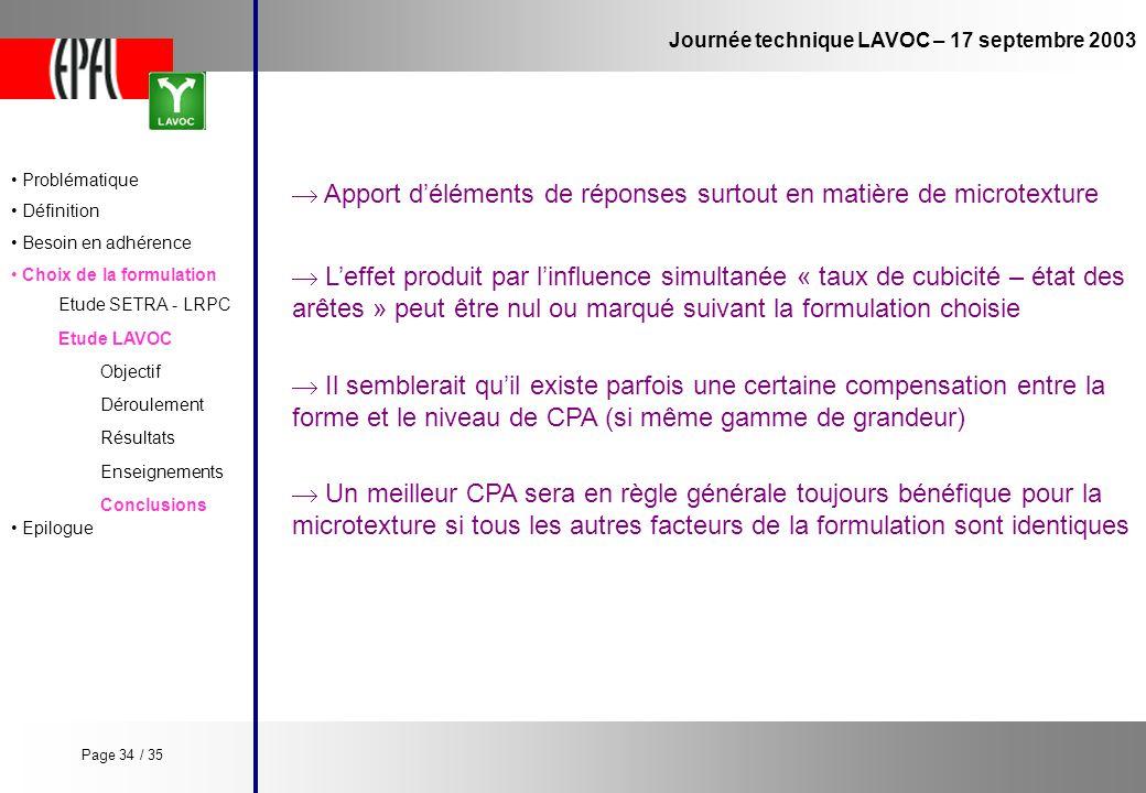 Journée technique LAVOC – 17 septembre 2003 Etude LAVOC Etude SETRA - LRPC Objectif Enseignements Conclusions Déroulement Résultats Leffet produit par
