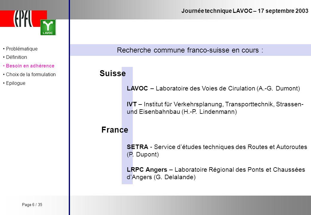 Journée technique LAVOC – 17 septembre 2003 Recherche commune franco-suisse en cours : Suisse SETRA - Service détudes techniques des Routes et Autorou