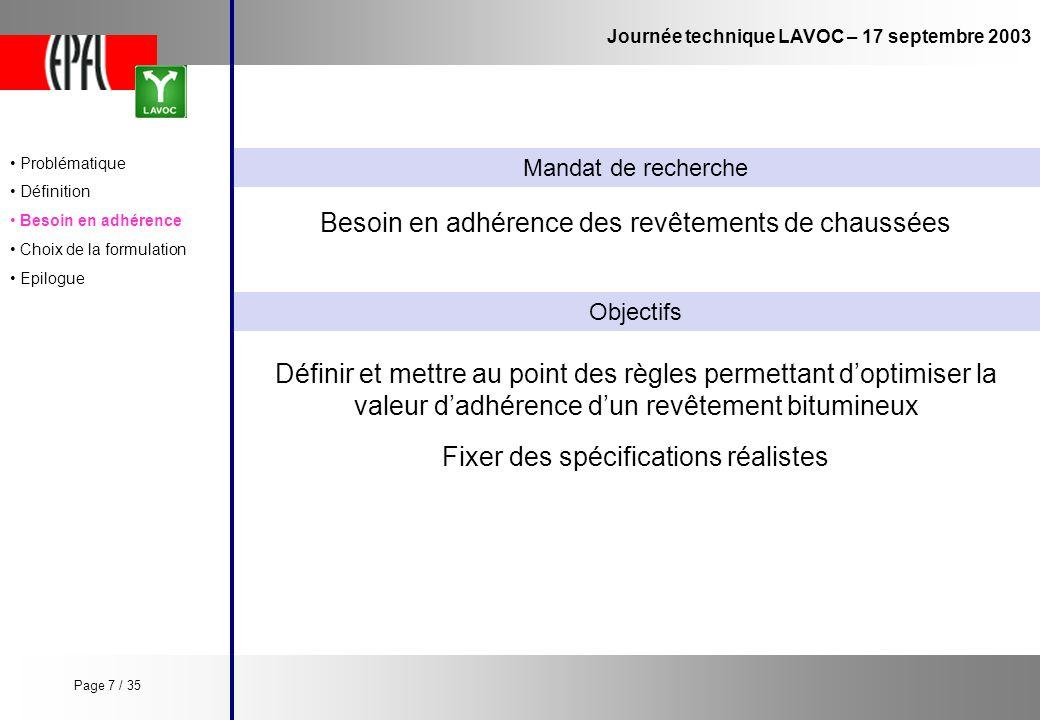 Journée technique LAVOC – 17 septembre 2003 Définir et mettre au point des règles permettant doptimiser la valeur dadhérence dun revêtement bitumineux