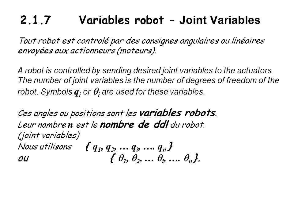 2.1.7 Variables robot – Joint Variables Tout robot est controlé par des consignes angulaires ou linéaires envoyées aux actionneurs (moteurs). A robot