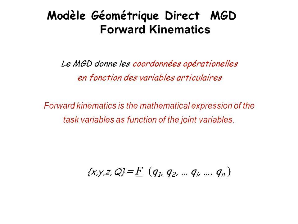 Modèle Géométrique Direct MGD Forward Kinematics Le MGD donne les coordonnées opérationelles en fonction des variables articulaires Forward kinematics